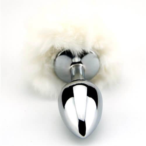 Furry Fantasy White Bunny Tail Butt Plug